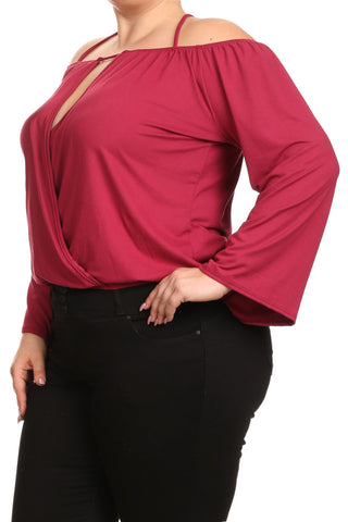 Strappy Bell Sleeves Key Hole Plus Size Top