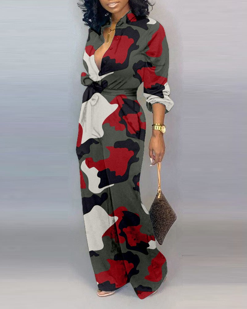 Plus Size V Neck Camouflage Print Buttoned Jumpsuit