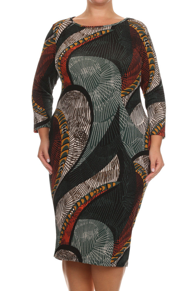 Plus Size Modish Nature Love Soft Midi Dress