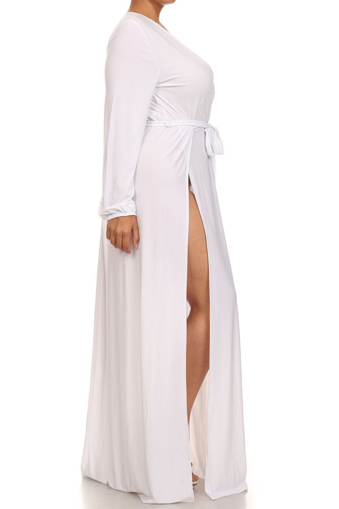 Plus Size Glamour Slit Tie White Maxi Dress