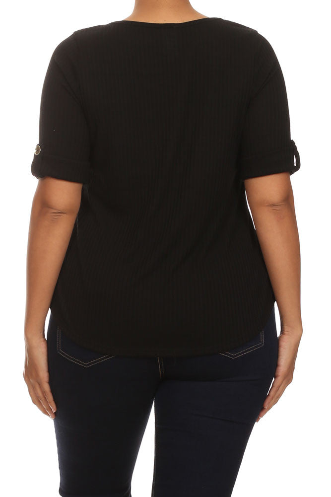 Plus Size Trendy Zipper Collar Ribbed Black Top