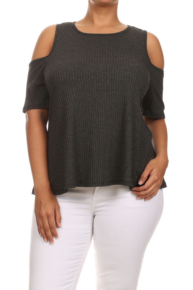 Plus Size Ribbed Cut Out Shoulder Boxy Grey Top