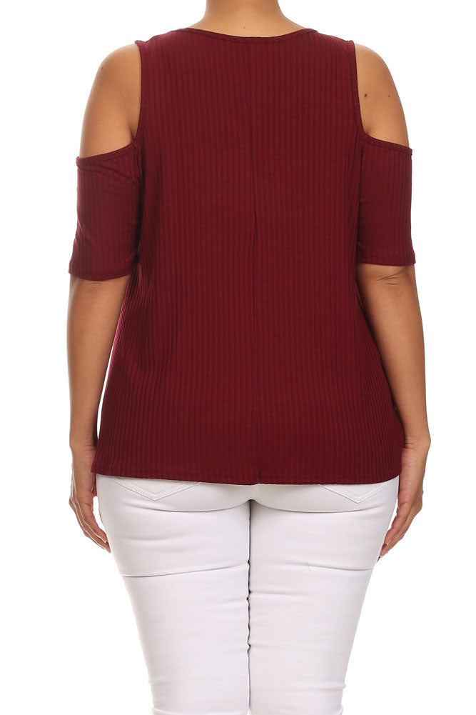 Plus Size Ribbed Cut Out Shoulder Boxy Burgundy Top