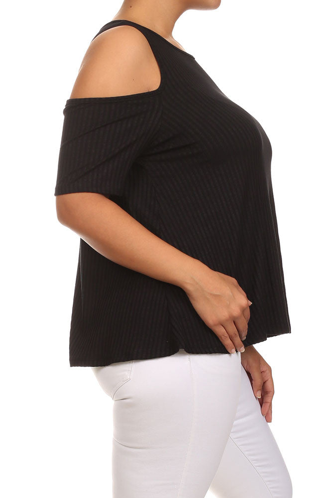 Plus Size Ribbed Cut Out Shoulder Boxy Top