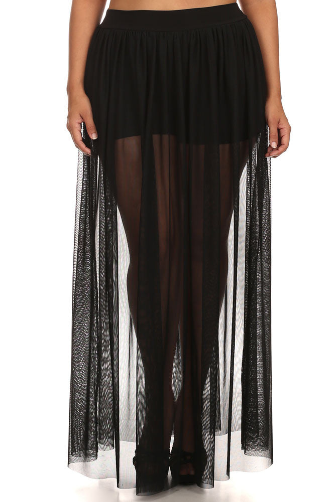 Plus Size Yours Truly Net Sheer Underlay Black Maxi Skirt