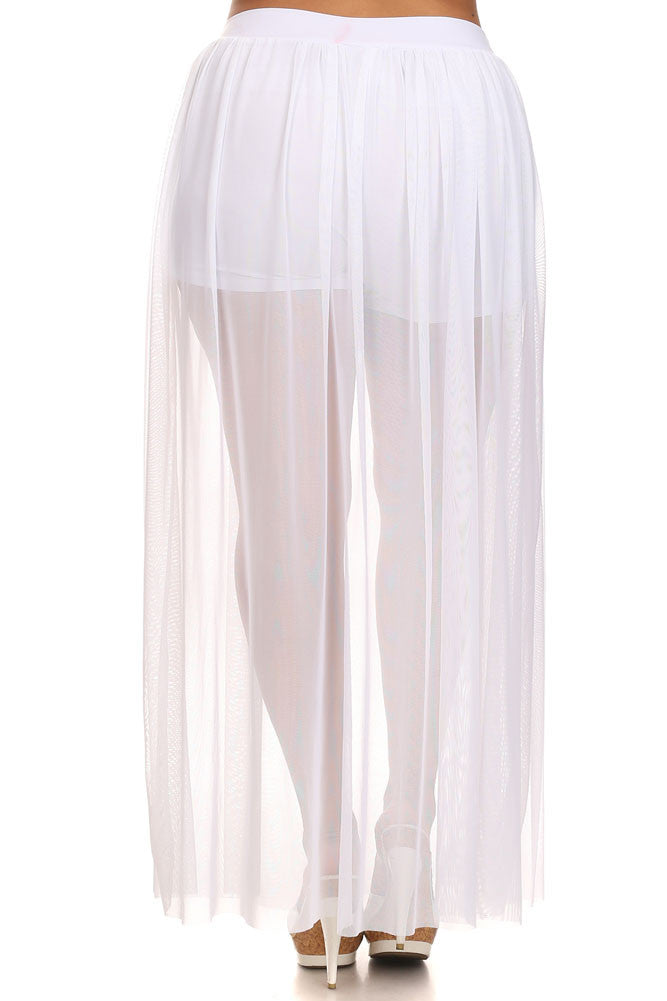 Plus Size Yours Truly Net Sheer Underlay White Maxi Skirt