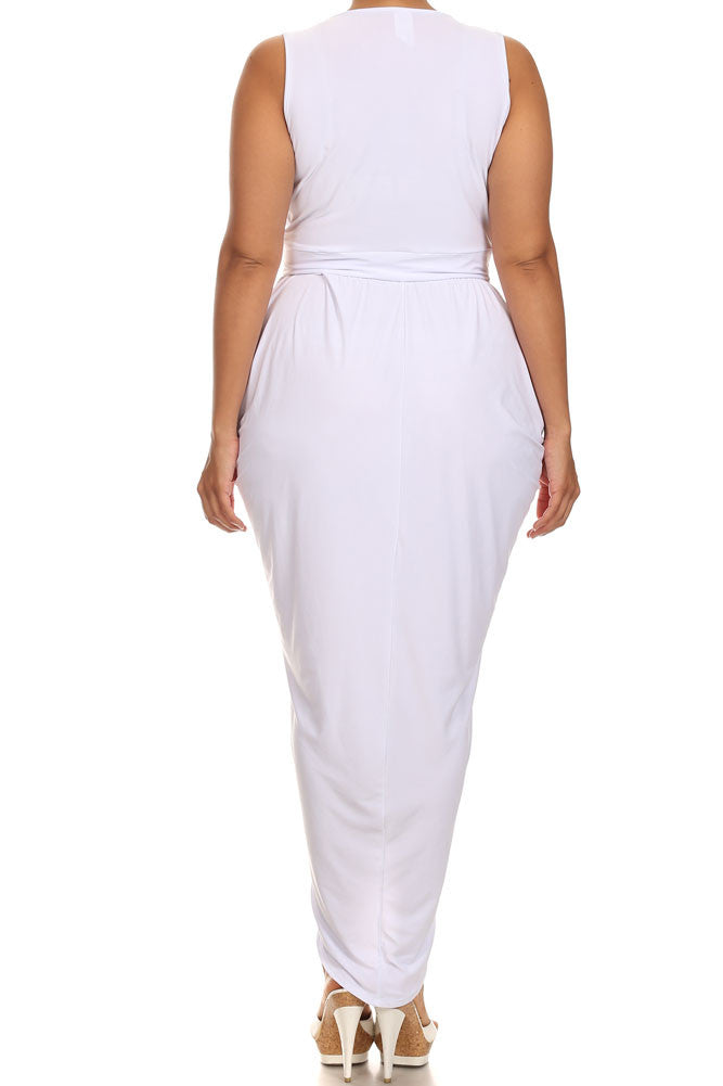 Plus Size Radiance Tulip Hem White Maxi Dress