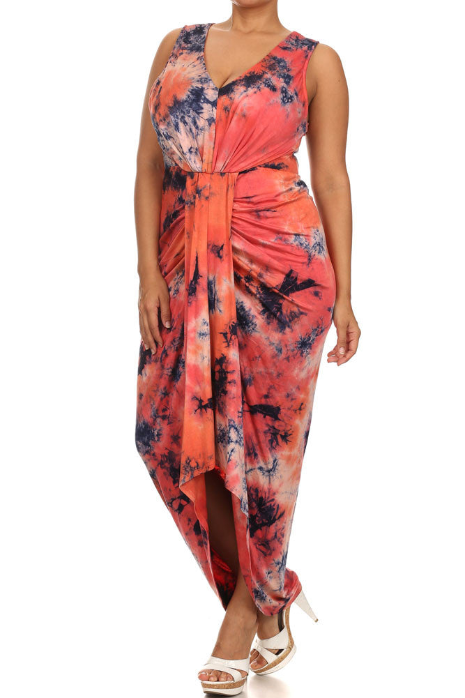 Plus Size Dancing On Clouds Tie Dye Orange Maxi Dress