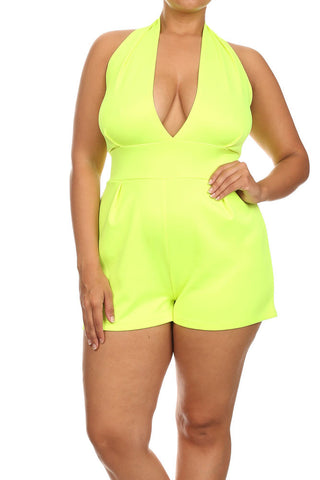 Yellow Plus Size Rompers