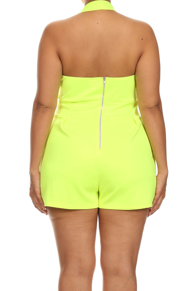 Plus Size Beach House Neon Yellow Romper