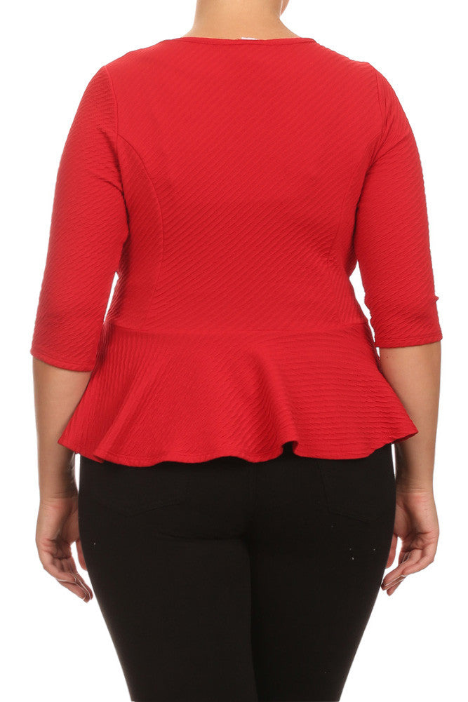 Plus Size Elegant Textured Peplum Red Jacket
