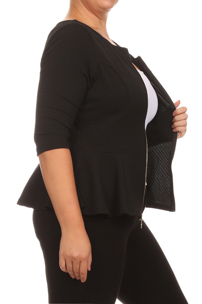 Plus Size Elegant Textured Peplum Black Jacket