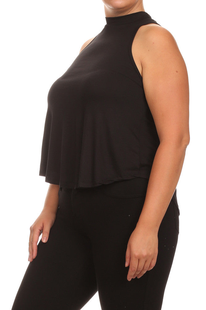 Plus Size Flowy Mock Neck Black Tank