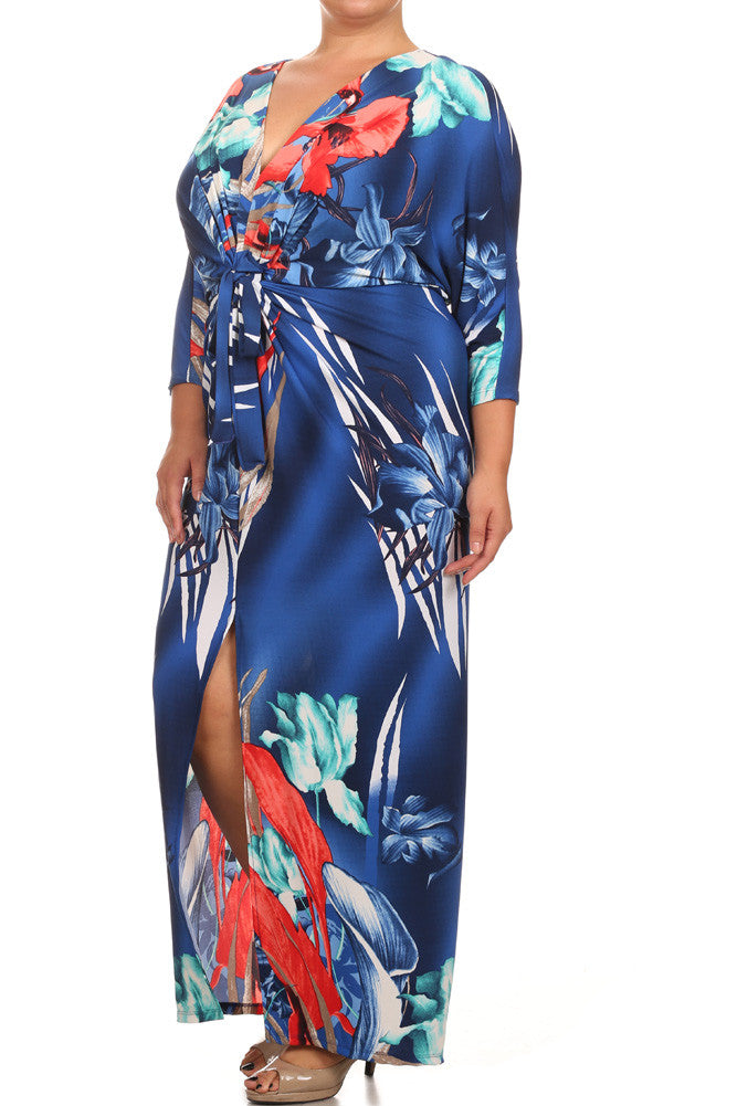 Plus Size Floral Paradise Front Knot Blue Kimono Dress