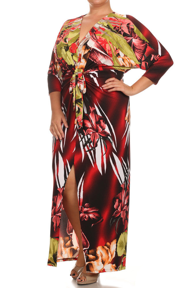 Plus Size Floral Paradise Front Knot Red Kimono Dress