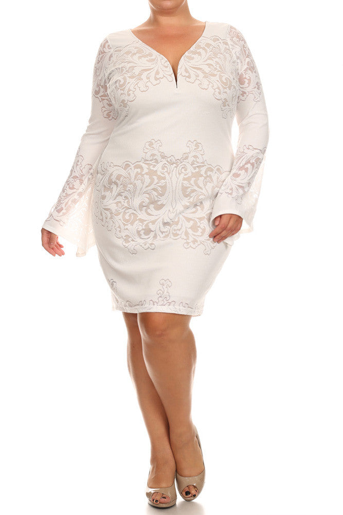 Plus Size Lace Darling Bell Sleeves White Dress Plussizefix