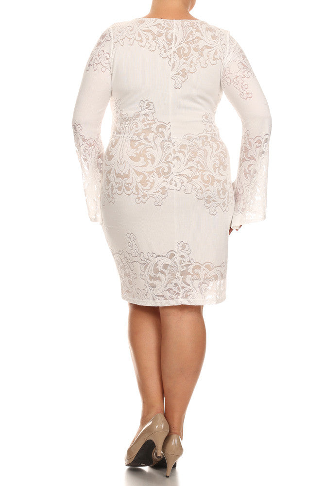 Plus Size Lace Darling Bell Sleeves White Dress