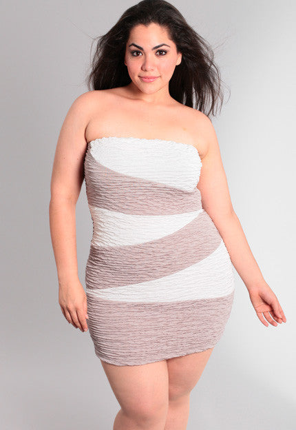 Plus Size Scrunched Tan And White Tube Dress