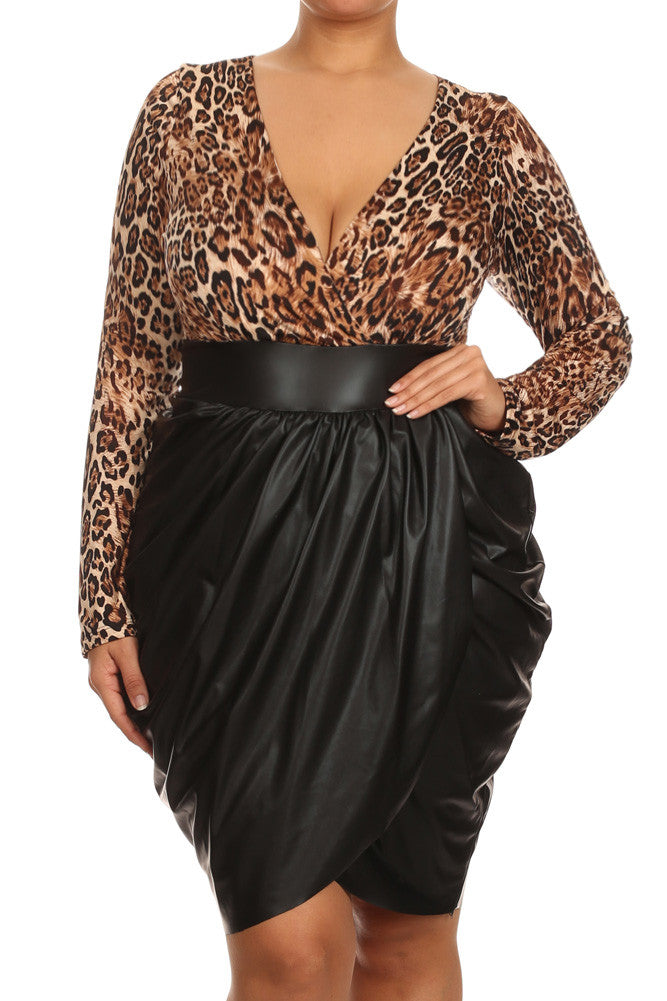 c23359f4844 Plus Size Leopard Bubble Leather Skirt Dress – Plussizefix