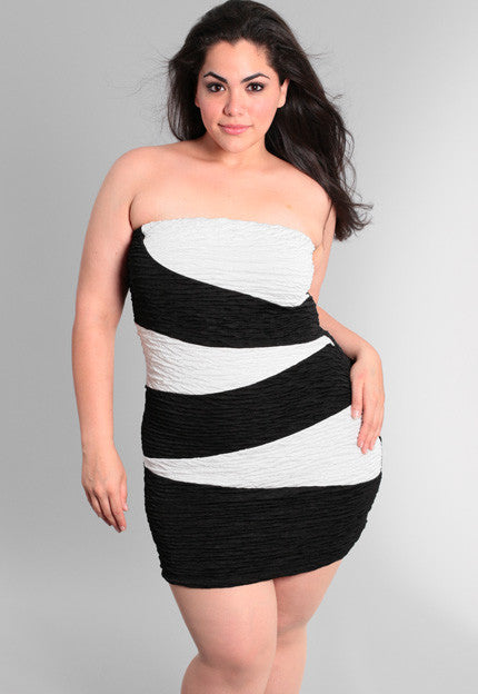 Plus Size Scrunched Back And White Tube Dress