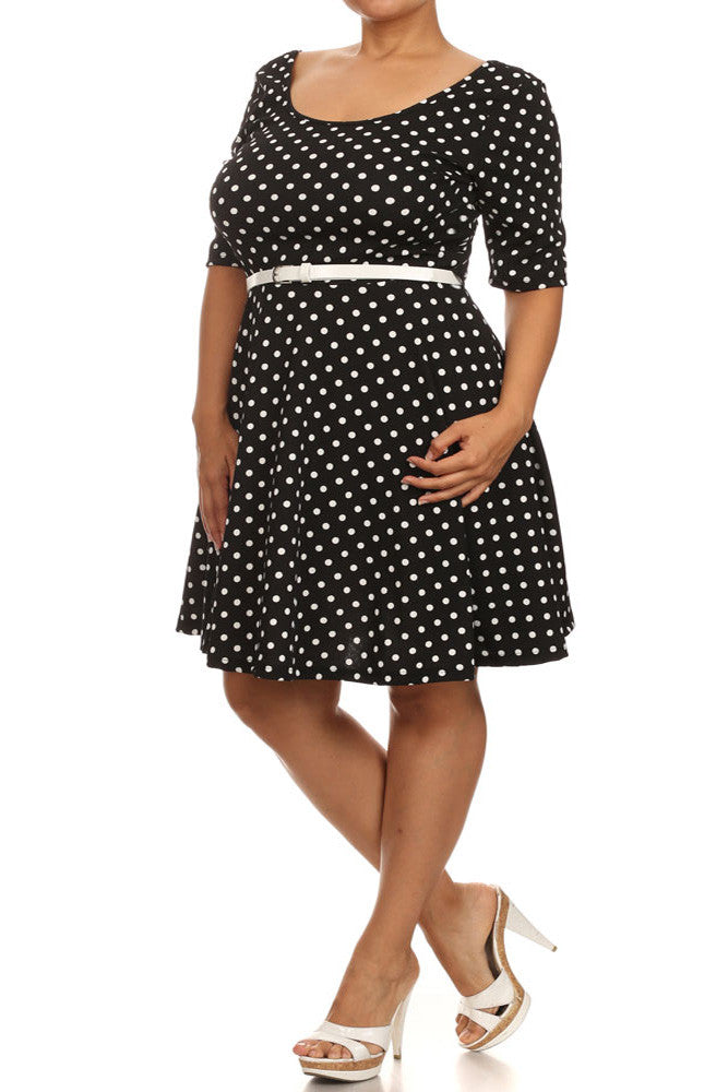 Plus Size Adorable Polka Dot Belted Skater Black Dress
