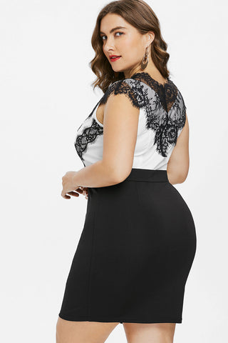 Plus Size Designer Lace Mesh Panel Bodycon Dress