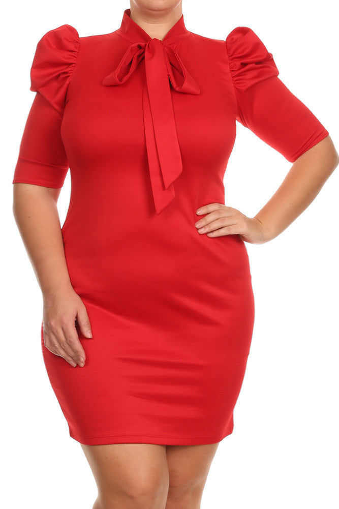 Plus Size Bow Neckline Short Sleeve Dress