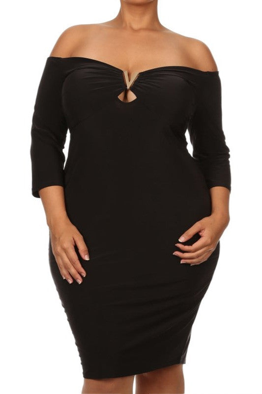 Plus Size Off Shoulder Black Cocktail Dress