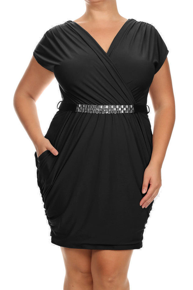 Plus Size Captivating Ruched Belted Black Dress