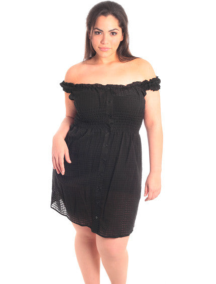 Plus Size Off Shoulder Black Button Down Dress