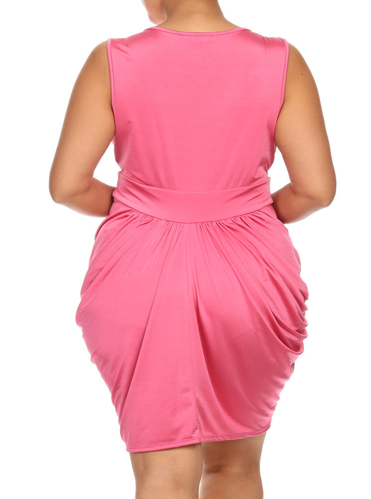 Plus Size V Neck Pink Bubble Dress