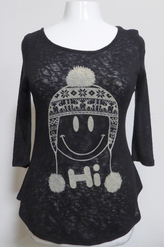 Plus Size Winter Happy Face Beanie Top