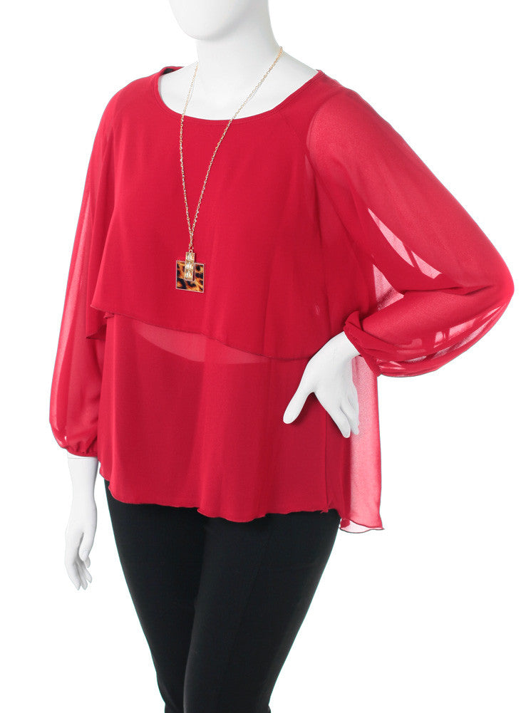 Plus Size Layered Sheer Jewelry Red Blouse