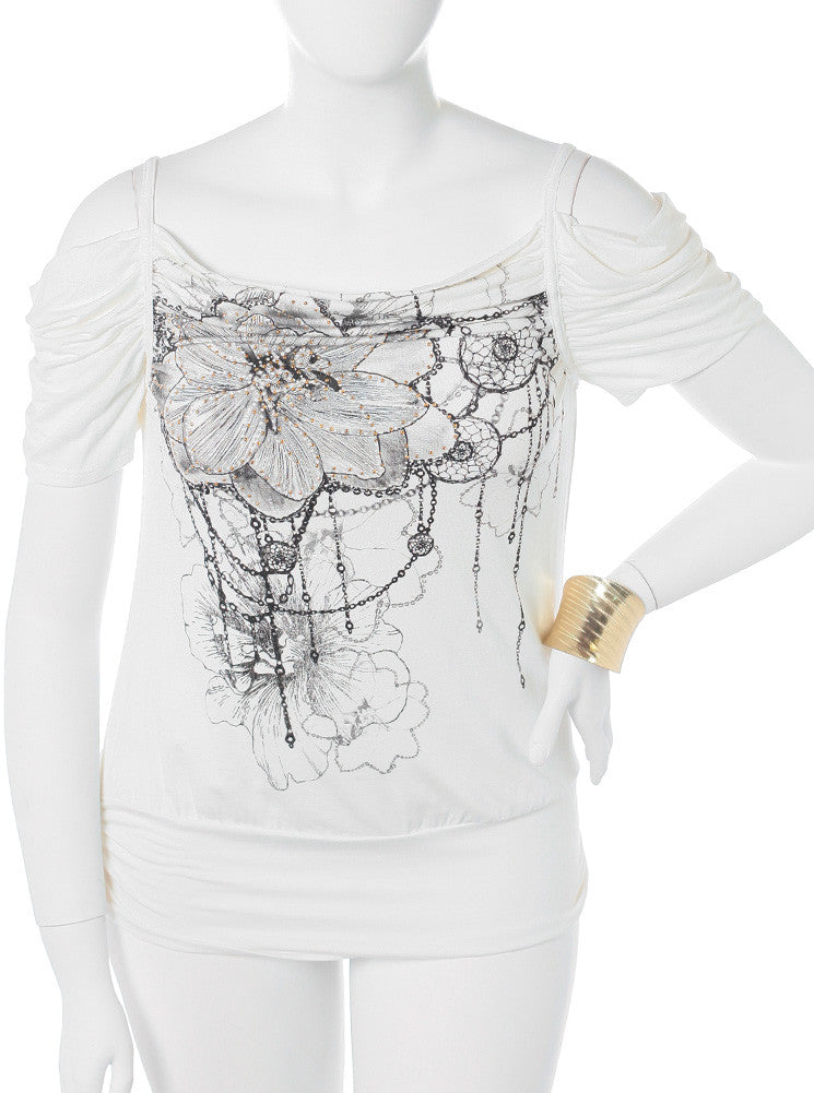 Plus Size Open Shoulder Dazzled White Top