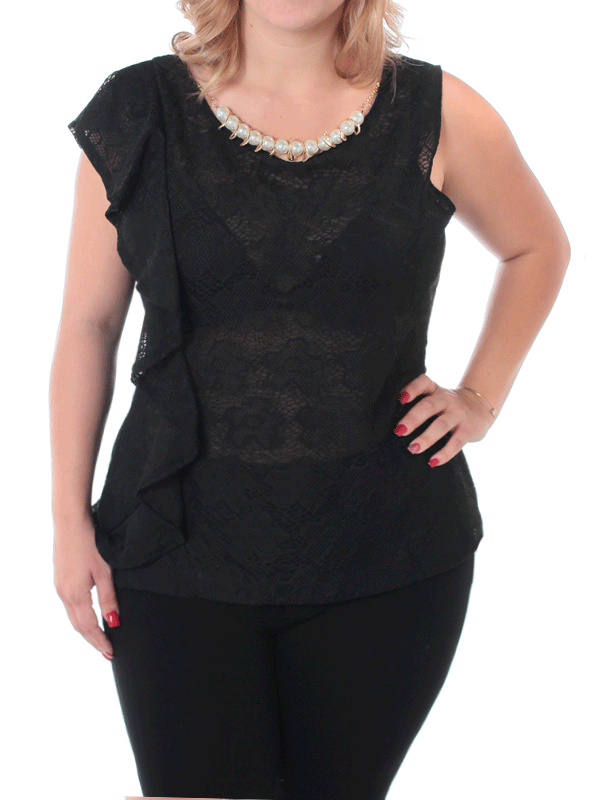 Plus Size Pretty Ruffles Black Top