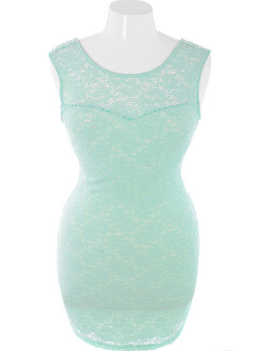 Plus Size Layered Sexy Floral Knit Mint Dress