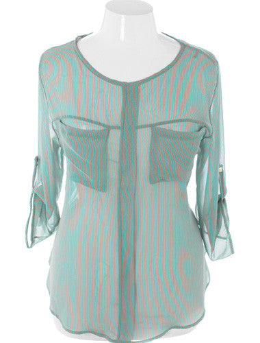 Plus Size Diva Striped Sheer Green Blouse