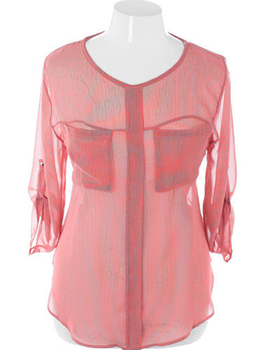 Plus Size Diva Striped Sheer Pink Blouse