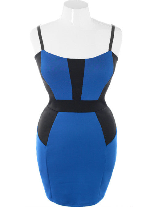 Plus Size Bodycon Colorblock Blue Dress