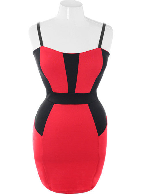 Plus Size Bodycon Colorblock Red Dress