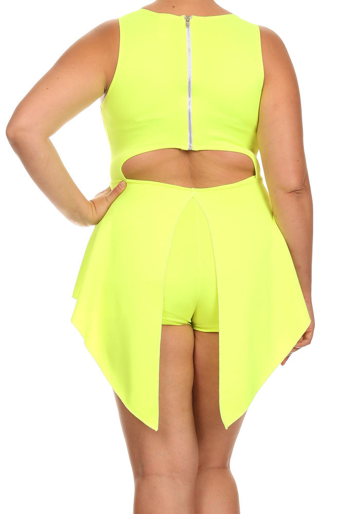 Plus Size Glamorous V Hem Open Back Skater Neon Yellow Dress