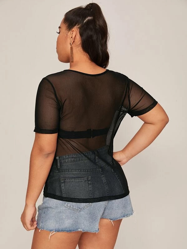 Plus Size Open Front Mesh Top Without Bra