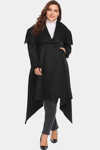 Plus Size Designer Chic Top Asymmetrical Trench Overcoat