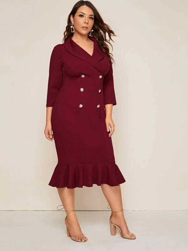 Plus Size Shawl Collar Ruffle Hem Double Breasted Dress