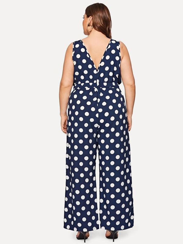 Plus Size Polka Dot V-Neck Jumpsuit