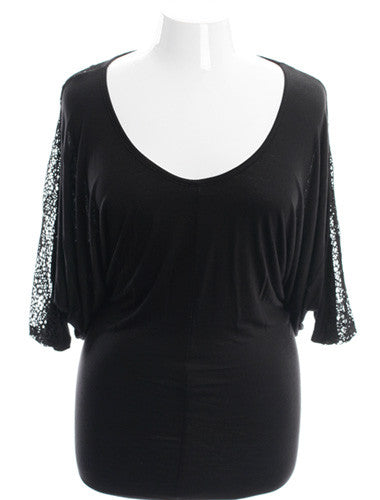 Plus Size Knit See Through Black Dress
