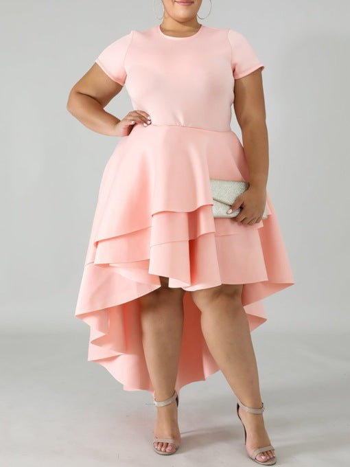 Plus Size Short Sleeve Round Neck Ankle-Length Asymmetrical Dress