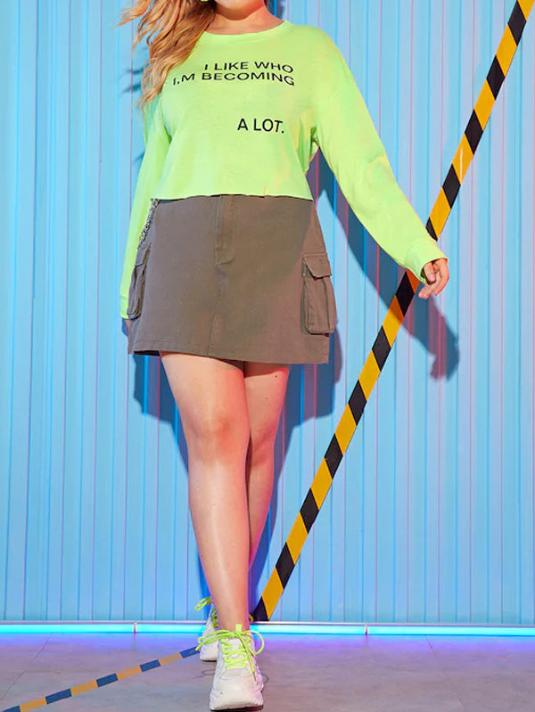 Plus Size Neon Lime Letter Print Tee