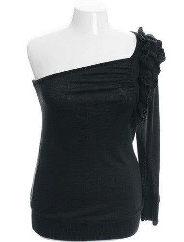 Plus Size Sexy One Shoulder Ruffled Black Sweater Top