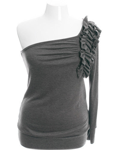 Plus Size Sexy One Shoulder Ruffled Charcoal Grey Sweater Top